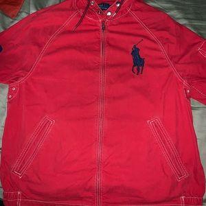 *POLO* Ralph Lauren hooded red windbreaker